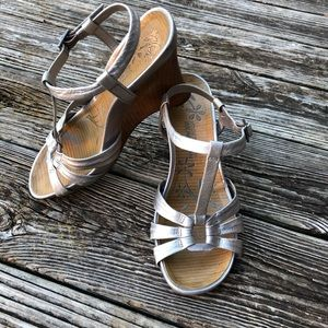 """Silver wedge sandals with 4"""" wood heel"""